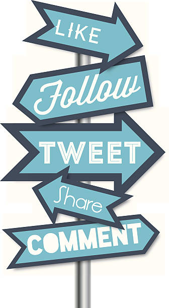 stockillustraties, clipart, cartoons en iconen met social media terms signpost vector illustrations - wegwijzer bord
