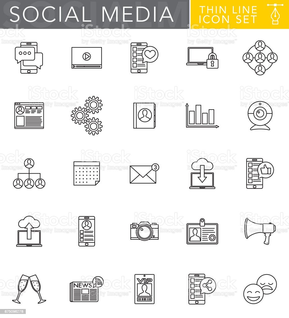 Social Media Thin Line Icon Set in Flat Design Style vector art illustration