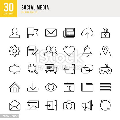 Social media set of 30 line vector icons.