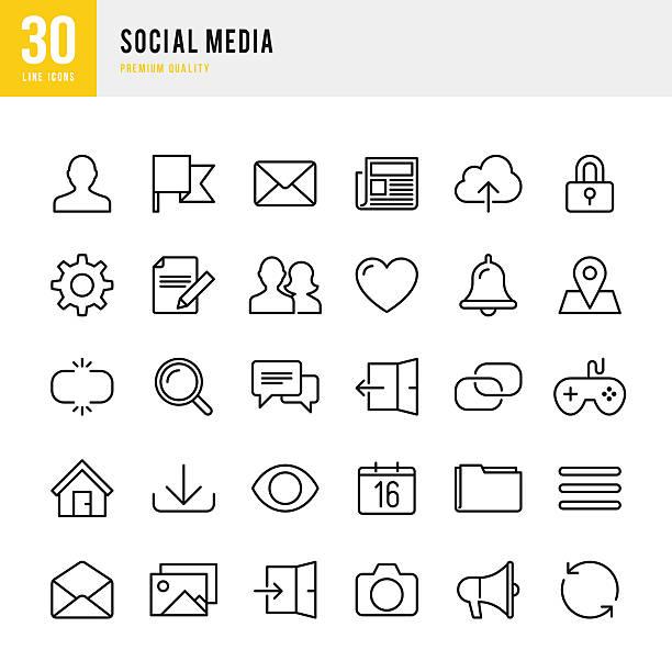 Social Media - Thin Line Icon Set vector art illustration