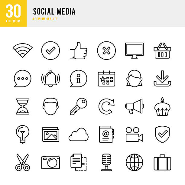 Social Media - Thin Line Icon Set vector art illustration