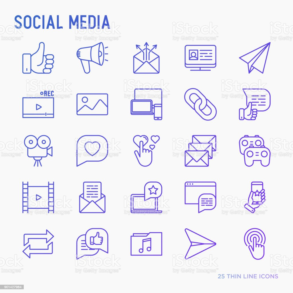 Social media thin line icons set: thumbs up, share, link, send e-mail, music, stream, comments. Vector illustration. vector art illustration