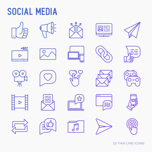 social media thin line icons set: thumbs up, share, link, send e-mail, music, stream, comments. vector illustration. - social stock illustrations, clip art, cartoons, & icons