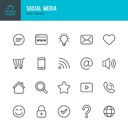 Social Media - thin line vector icon set. Pixel perfect. Editable stroke. The set contains icons Shopping Cart, Home,  Check Mark, E-Mail, Globe, Lock, Question Mark, Magnifier,  Message.