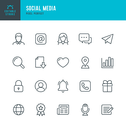 Social Media - thin line vector icon set. 20 linear icon. Pixel perfect. Editable outline stroke. The set contains icons: Male; Female, E-Mail, Speech Bubble, Telephone, News, Heart Shape,  Reminder.