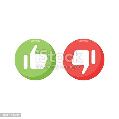 Vector illustration of a couple of icons with thumbs up and thumbs down design elements