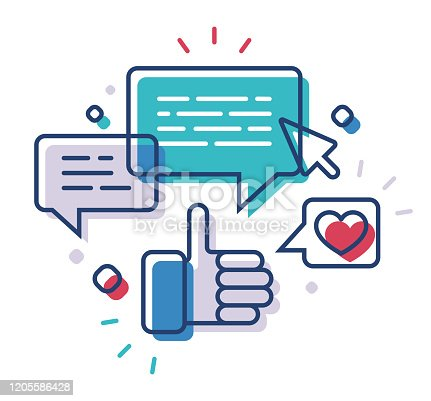 Social media online line drawing communication concept illustration vector.