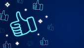 Social media thumbs up like background glowing thumbs.