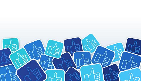 Social media thumbs up like background symbols.
