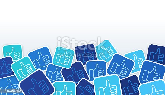 Social media thumbs up like background symbols.