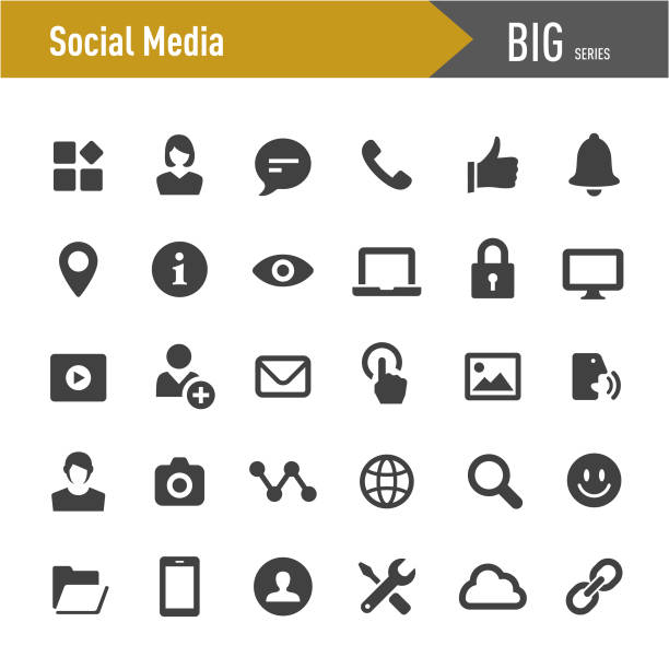social media tools icons-big series - social media icons stock-grafiken, -clipart, -cartoons und -symbole