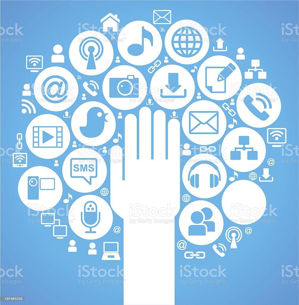 social media tree blue royalty-free stock vector art