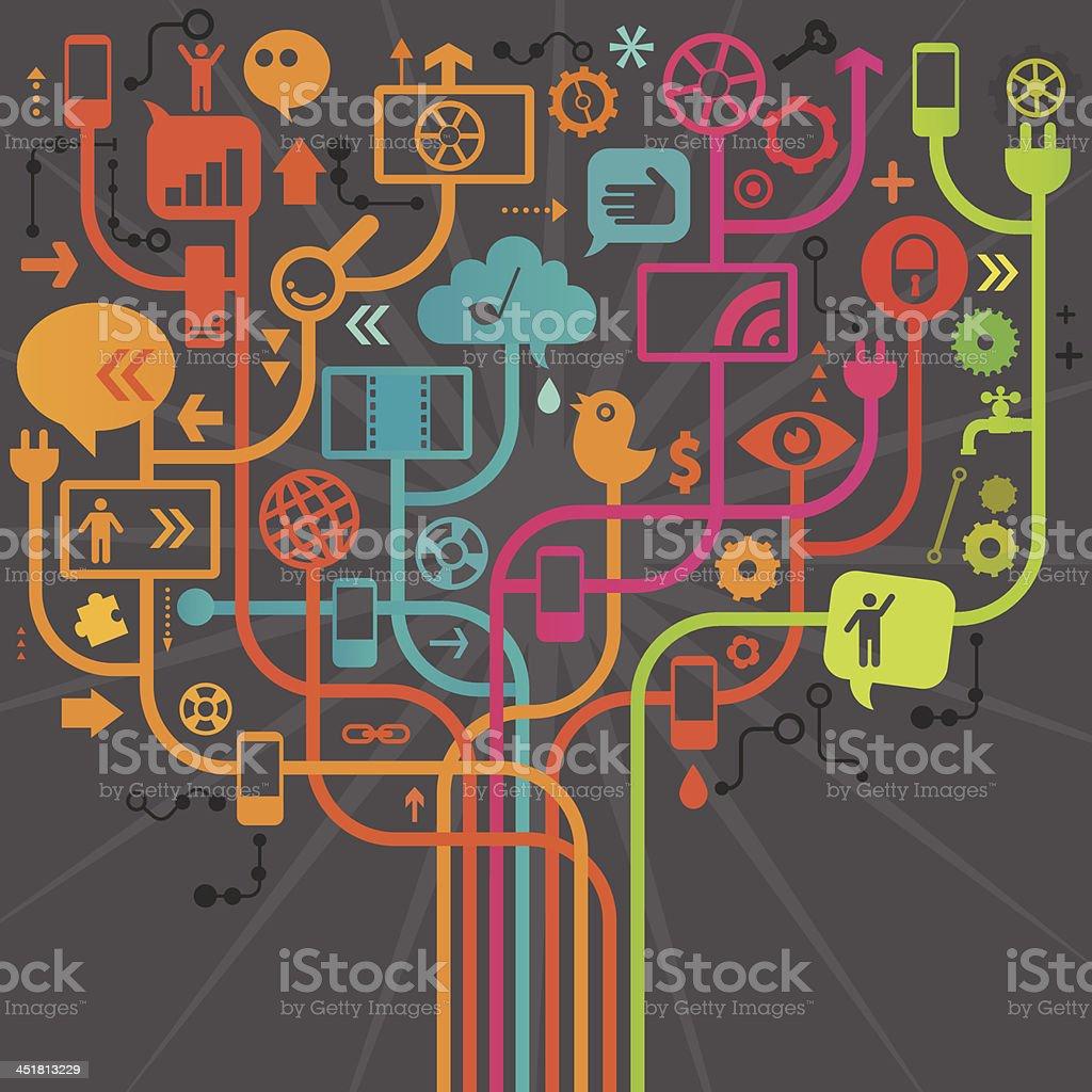 Social Media Tree Design royalty-free stock vector art