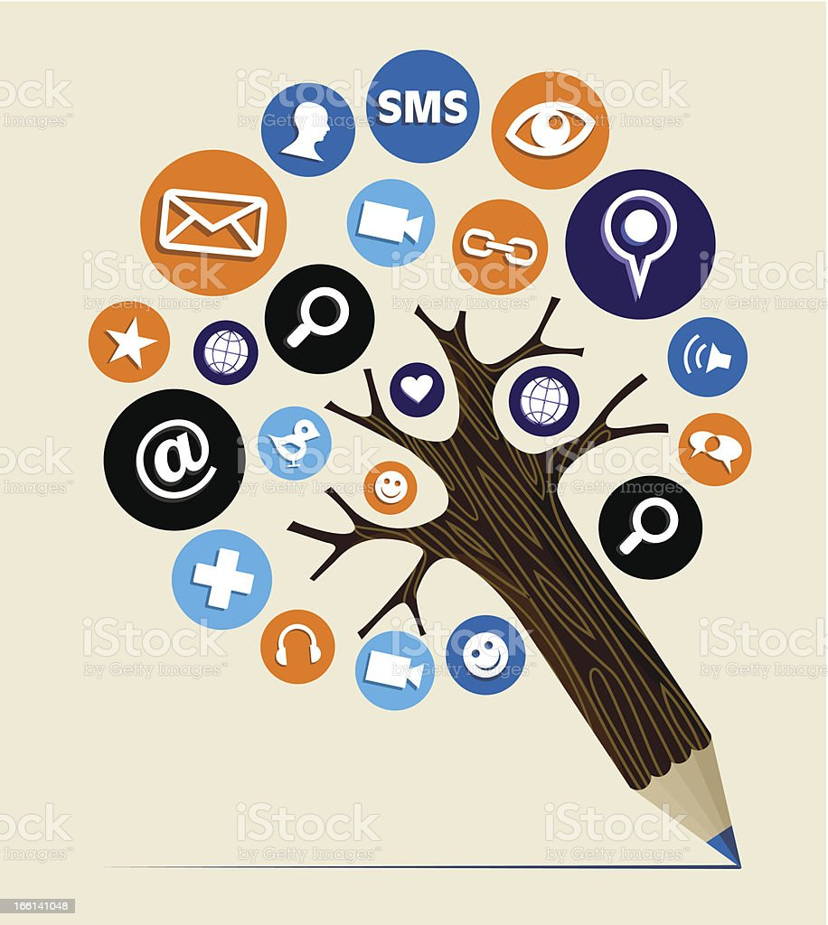Social media tree royalty-free stock vector art