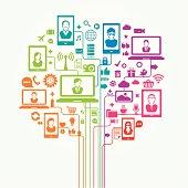 Social media network tree. Vector illustration, no transparency used.