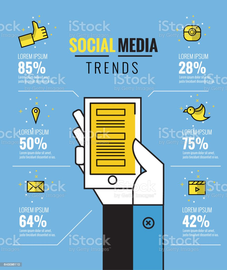 social media trends infographic. vector art illustration