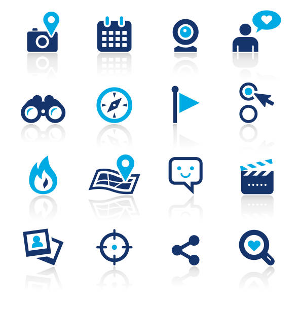 Social Media Two Color Icons Set An illustration of social media two color icons set for your web page, presentation, apps and design products. Vector format can be fully scalable & editable. binoculars stock illustrations