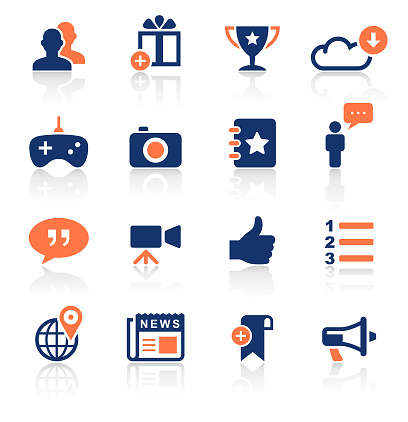 An illustration of social media two color icons set for your web page, presentation, apps and design products. Vector format can be fully scalable & editable.