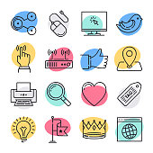 Modern social media usage doodle style concept outline symbols. Line vector icon sets for infographics and web designs.