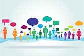 Colorful abstract crowd with speech bubbles standing on an abstract background.