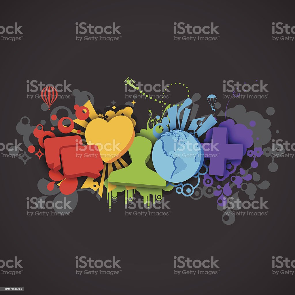 Social Media Vector Design - Splash Style royalty-free social media vector design splash style stock vector art & more images of abstract