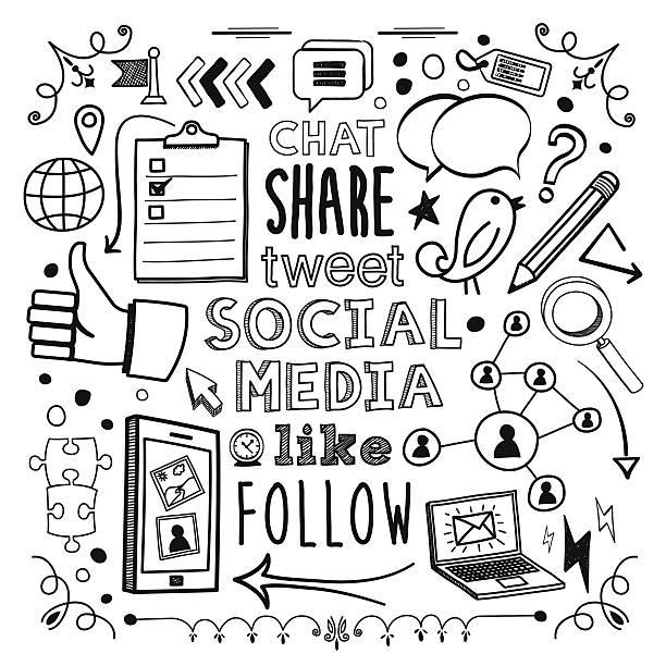 stockillustraties, clipart, cartoons en iconen met social media - potloodtekening