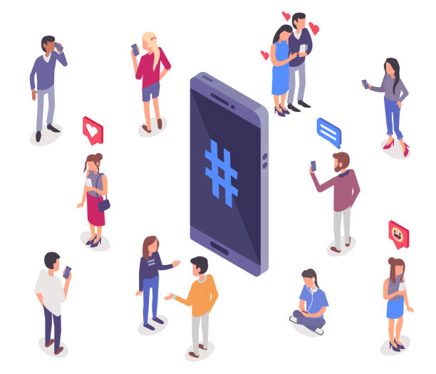 social media Social media isometry concept with people.  Flat   style  isometric vector illustration isolated on white background. addict stock illustrations