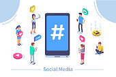 Social media concept with characters.  Flat isometric vector illustration isolated on white background.
