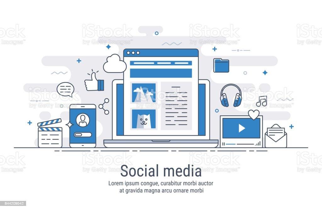 Redes sociales vector ilustración - ilustración de arte vectorial