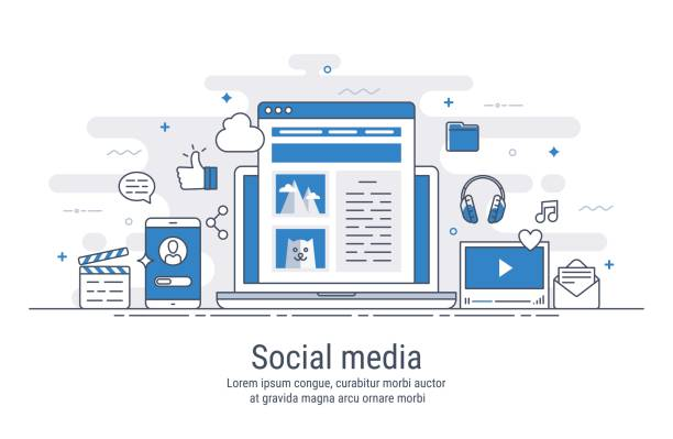 social-media vektor-illustration - social media infografiken stock-grafiken, -clipart, -cartoons und -symbole