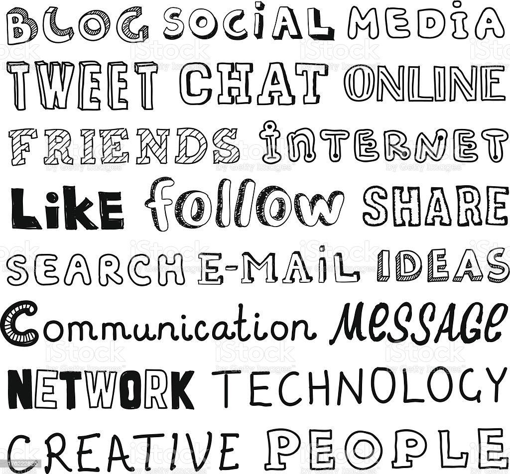 Social media vector sketch text royalty-free stock vector art