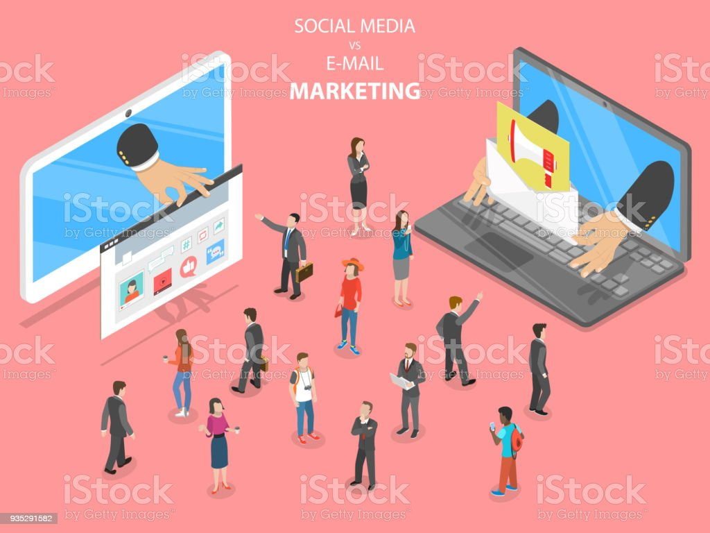 Social media vs e-mail marketing flat vector. vector art illustration