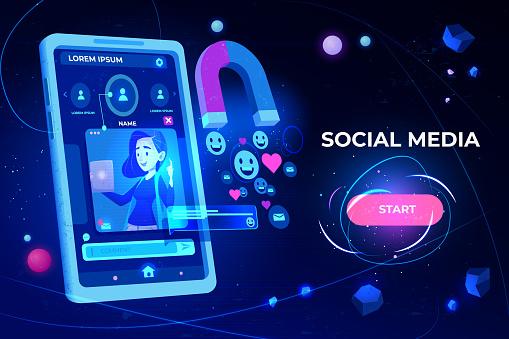 Social media web banner. Magnet attracting likes