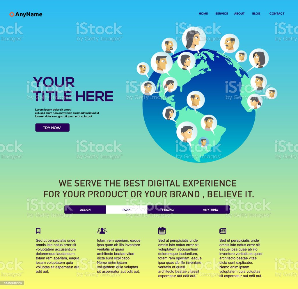 Social Media Website Template Stock Vector Art More Images Of Art
