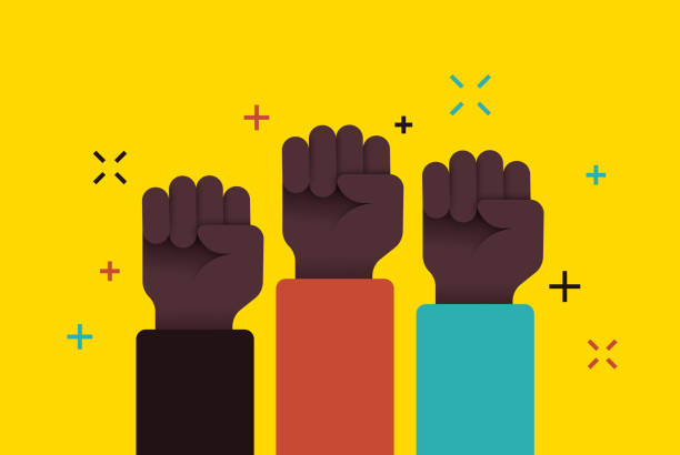 social movement protest fists raised - black power stock illustrations