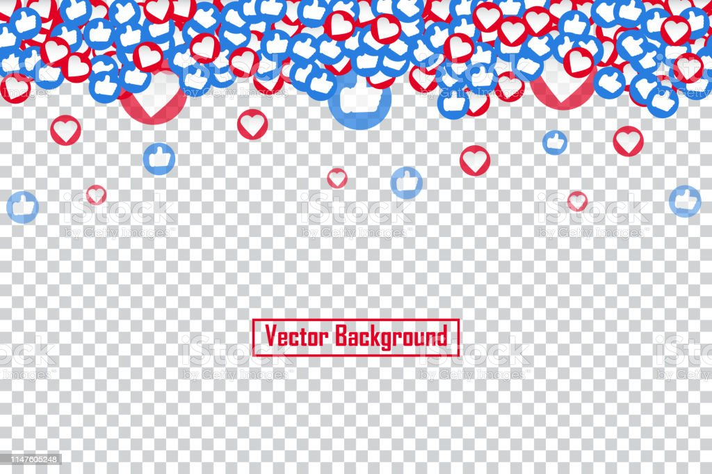 Social nets blue thumb up like and red heart floating web buttons...