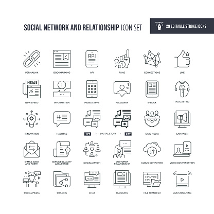 Social Network and Relationship Editable Stroke Line Icons