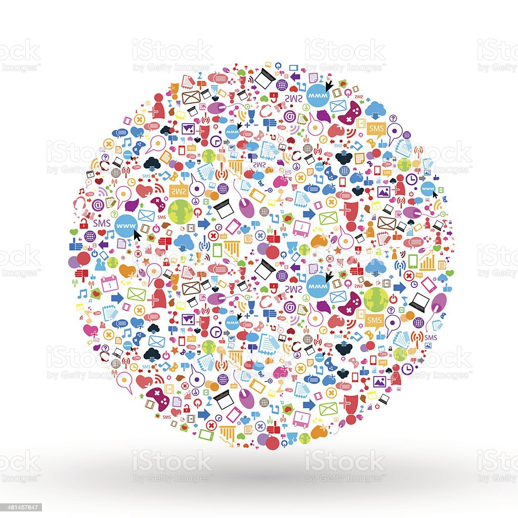 Social network background with media icons. Vector illustration vector art illustration