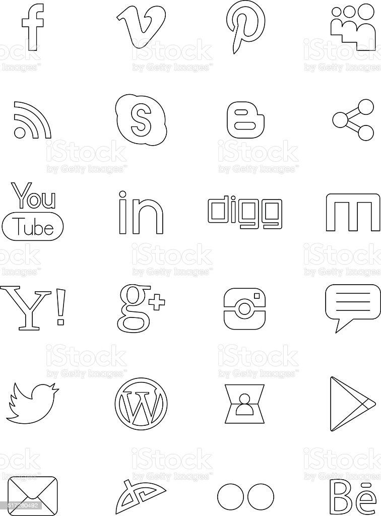Social network black logos vector art illustration