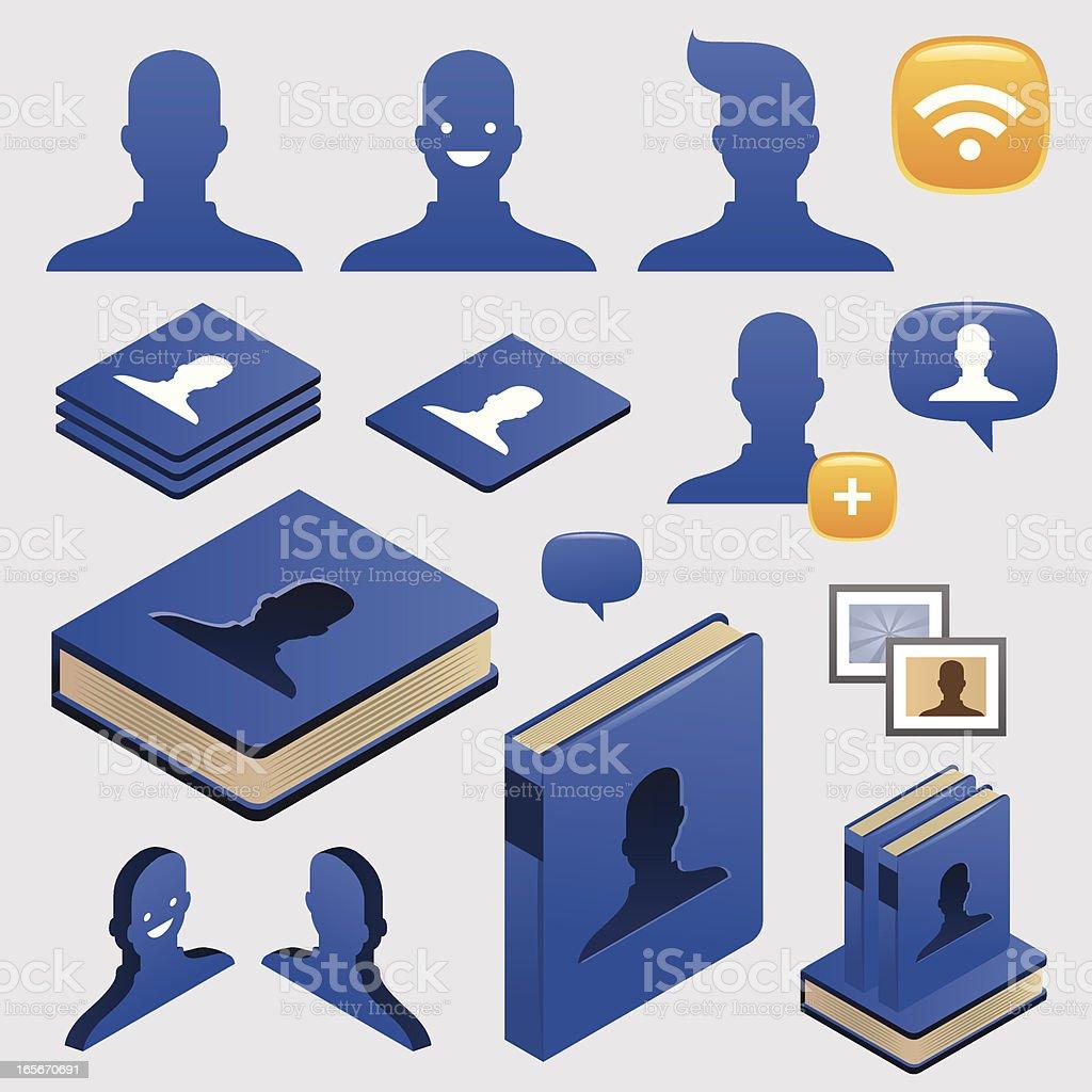 Social network book icons royalty-free stock vector art