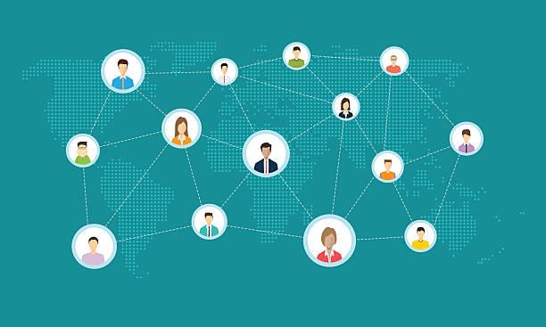 Soziale Netzwerk business connection .global business communication .business teamwork Konzept – Vektorgrafik