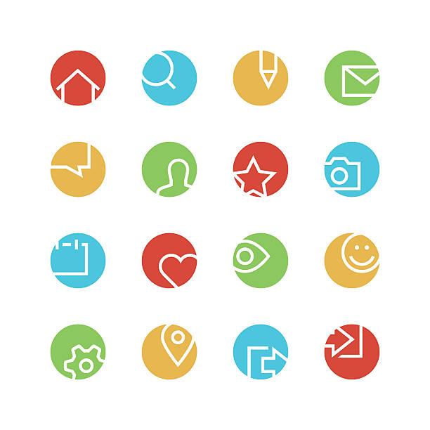 ilustrações de stock, clip art, desenhos animados e ícones de rede social conjunto de ícones coloridos - going inside eye