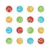 Social network colored icon set
