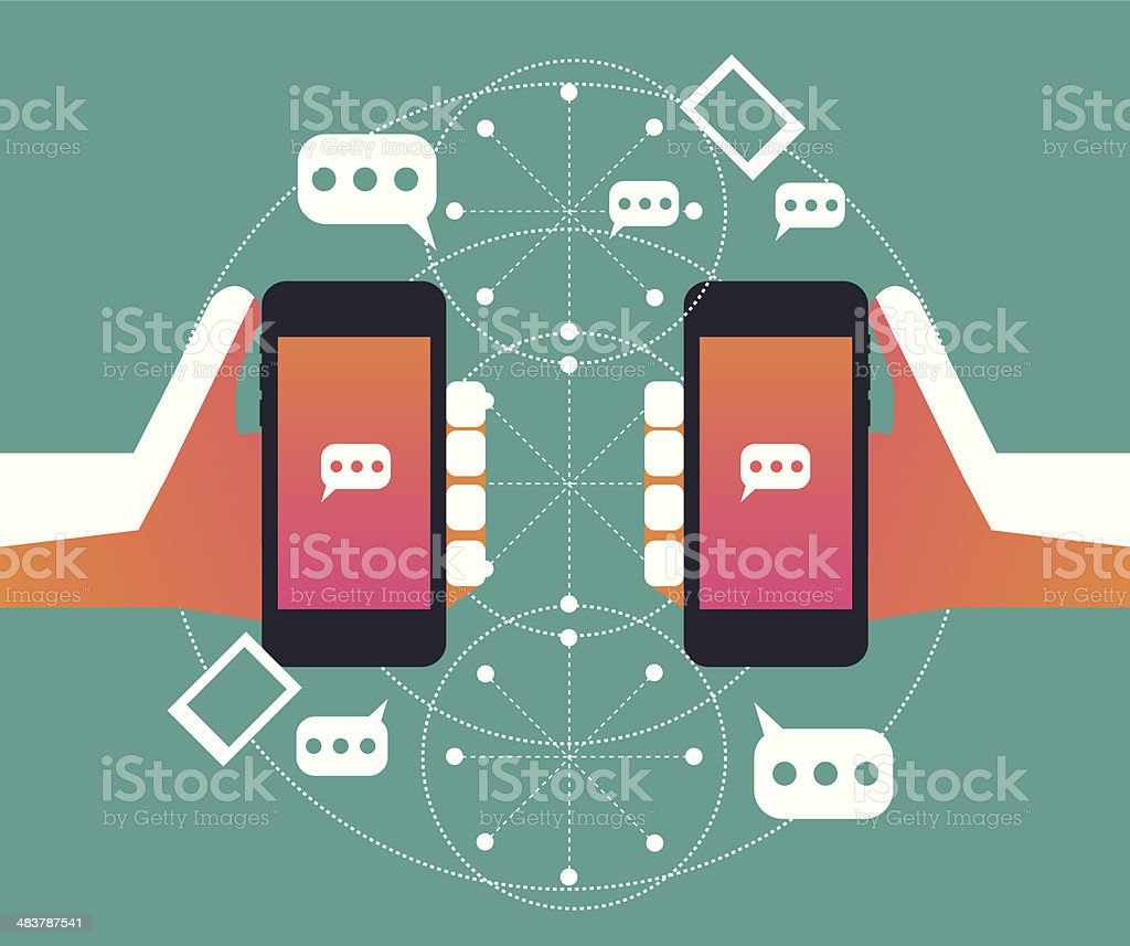 Social network, Communication on Smart phone vector art illustration
