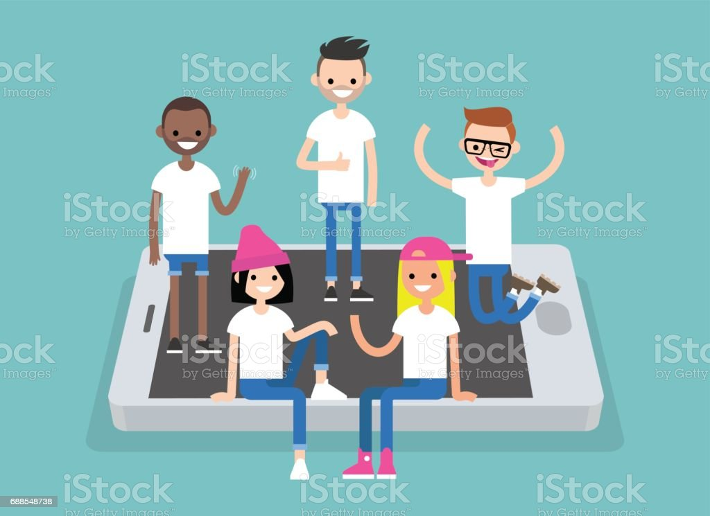 Social network concept. A multinational group of young people hanging out on the mobile screen / flat editable vector illustration, clip art vector art illustration