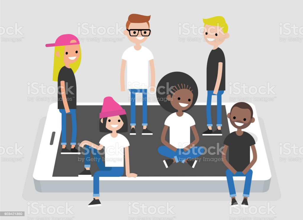 社会的ネットワークの概念。多国籍企業携帯電話の画面に掛かっている若者のグループ/フラット編集可能なベクトル イラスト、クリップアート ベクターアートイラスト