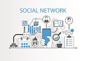 Social network concept as background vector illustration