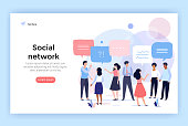 Social network concept illustration, group of people talking with speech bubbles, perfect for web design, banner, mobile app, landing page, vector flat design