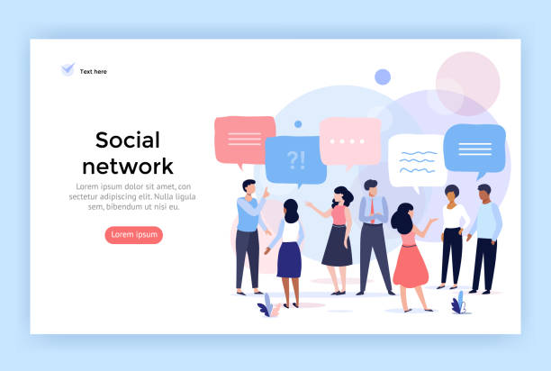 Social network concept illustration. Social network concept illustration, group of people talking with speech bubbles, perfect for web design, banner, mobile app, landing page, vector flat design meeting stock illustrations