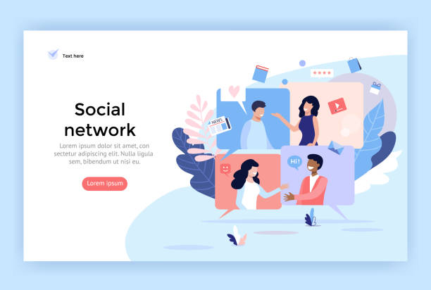 ilustraciones, imágenes clip art, dibujos animados e iconos de stock de ilustración de concepto de red social. - online meeting